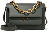 Marni Trunk Medium Leather Shoulder Bag - Sage green