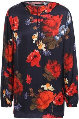 Mother of Pearl Astra Floral-print Satin Hooded Top