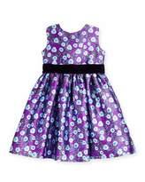 Oscar de la Renta Sleeveless Petite Roses Mikado Dress, Ultraviolet, Size 3-14