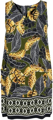 Evans Khaki Palm Print Shift Dress