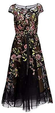 Marchesa Women's Embroidered Floral Tulle Cocktail Dress