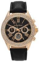 Journee Collection Women's Rhinestone Accent Roman Numeral Strap Watch - Black