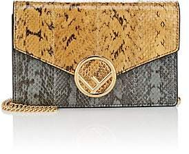 Fendi Women's Snakeskin Chain Wallet - Tan, Blue