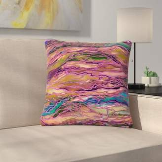 """IDEA East Urban Home Ebi Emporium Marble Idea! Painting Outdoor Throw Pillow East Urban Home Size: 16"""" H x 16"""" W x 5"""" D, Color: Pink"""