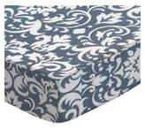 SheetWorld Extra Deep Fitted Portable / Mini Crib Sheet - Grey Damask - Made In USA
