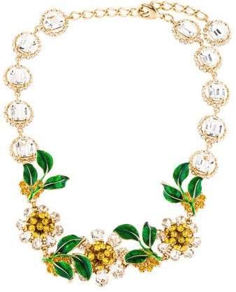 Dolce & Gabbana Crystal & Enamel Floral Necklace