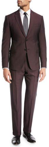 Emporio Armani Tonal-Stripe Wool/Mohair Suit
