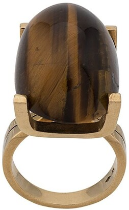 Katheleys Vintage 18kt Yellow Gold Tiger Eye Oval Stone Ring