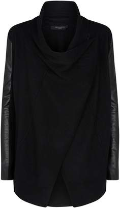 AllSaints Lucia Wool-Leather Cardigan