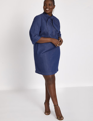 ELOQUII Tie Neck Denim Dress