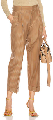 Chloé Pinstripe Tailored Pant in Hevea Brown | FWRD