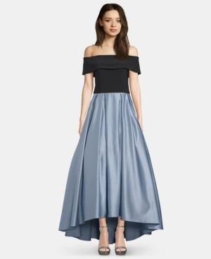 Betsy & Adam Off-The-Shoulder Satin Ballgown
