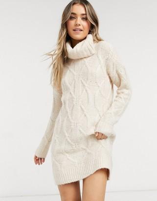 Pimkie cable knit jumper dress in beige