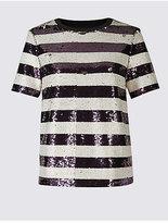Per Una Sequin Striped Short Sleeve T-Shirt
