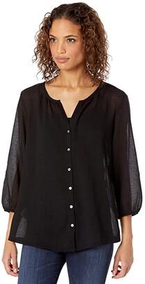 Tommy Bahama Lana Bay Gauze Top 3/4 Sleeve (Black) Women's Clothing