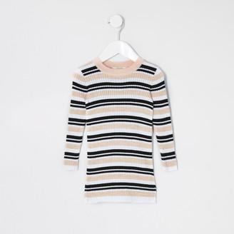 River Island Mini girls Pink stripe knitted jumper dress