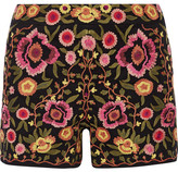 Alice + Olivia Marisa Embroidered Stretch-cotton Shorts - Black
