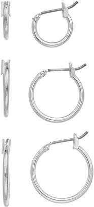 Nine West Silver Tone Hoop Earring Set
