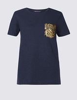 M&S Collection Pure Cotton Lace Pocket Short Sleeve T-Shirt