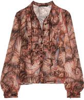 Etro Ruched Paisley-print Silk-chiffon Blouse - Pink