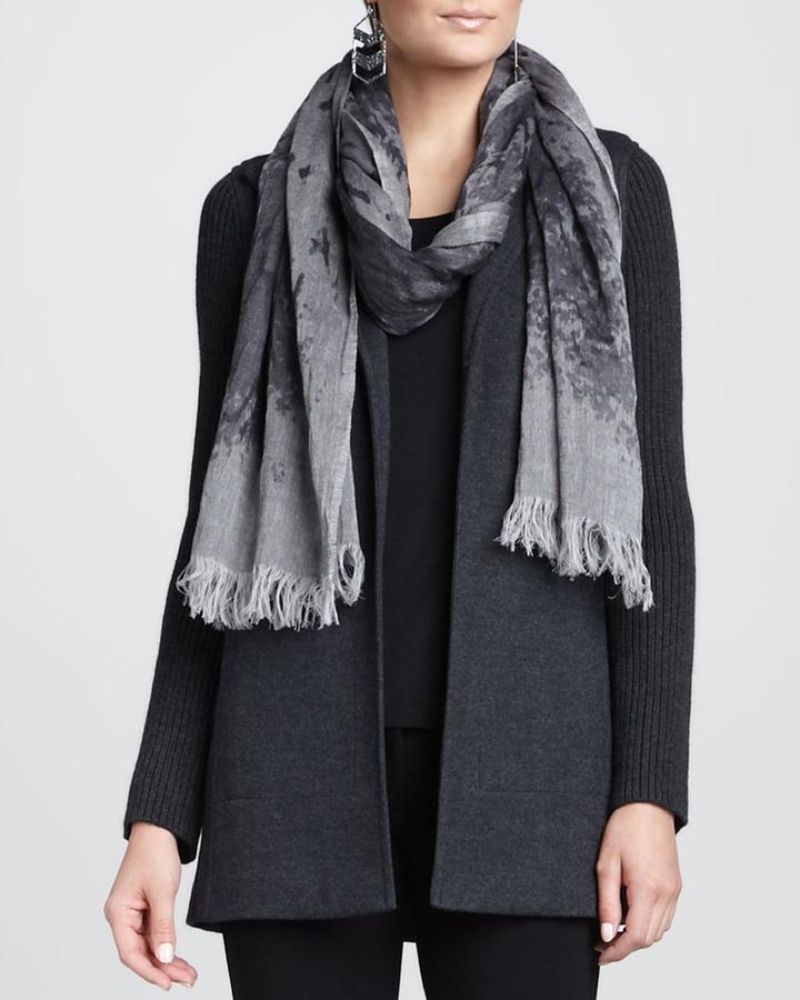Eileen Fisher Mottled Linen-Wool Printed Scarf, Ash