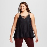Women's Plus Size Lace Up V-Neck Tank with Hi-Low Hem - Born Famous (Juniors')
