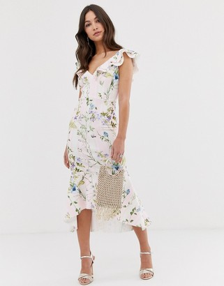 Asos Design DESIGN Stripe floral printed ruffle midi dress-Multi