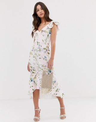 ASOS DESIGN Stripe floral printed ruffle midi dress