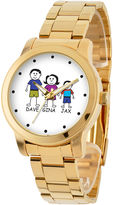 JCPenney FINE JEWELRY Personalized Stick Figure Family Gold-Tone Stainless Steel Watch