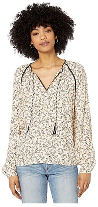 Cupcakes And Cashmere Halston 'Golden Hour Ditsy' Crepe Peasant Blouse (Cameo Rose) Women's Clothing