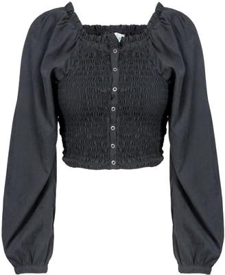 Naftul Party Puffy Sleeves Crop Top Black