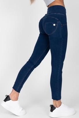 Hugz Jeans Dark Blue High Waist Denim Yellow Stitch