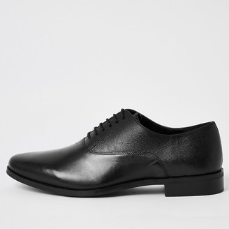 River Island Black leather lace-up Oxford brogues
