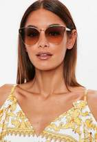 Missguided Gold Clear Cat Eye Sunglasses, Brown