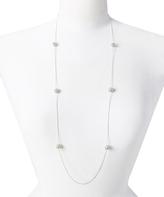 Carole Crystal & Silvertone Station Necklace