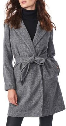 Bernardo Herringbone Belted Hooded Wrap Coat