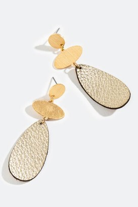 francesca's Sidney Leather Teardrop Earrings - Gold