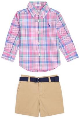 Ralph Lauren Kids Check Shirt And Shorts Set (9-24 Months)