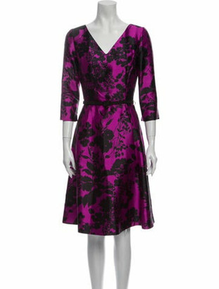 Oscar de la Renta Floral Print Knee-Length Dress Purple