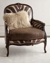 Massoud Titus Zebra-Print Bergere Chair