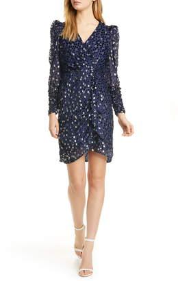 Kate Spade Scatter Dot Metallic & Velvet Textured Long Sleeve Dress