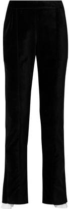 Rosie Assoulin Are We Having Funnel Yet Plisse Voile-trimmed Cotton-velvet Straight-leg Pants