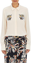 Stella McCartney Women's Tiger-Embroidered Silk Blouse-NUDE