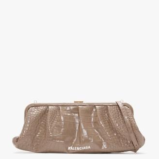 Balenciaga XL Cloud Black Metallic Clutch Bag