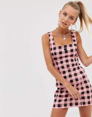 Lazy Oaf square neck fitted dress in gingham-Pink