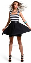 Lulu Julian Chang Striped Fit and Flare Casual Dresses
