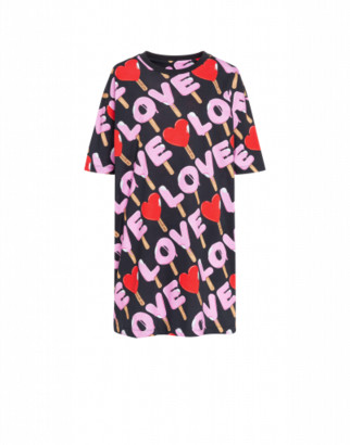 Love Moschino Jersey Dress Ice Cream Woman Black Size 38 It - (4 Us)
