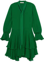 Alice + Olivia Moran Silk Mini Dress - Green
