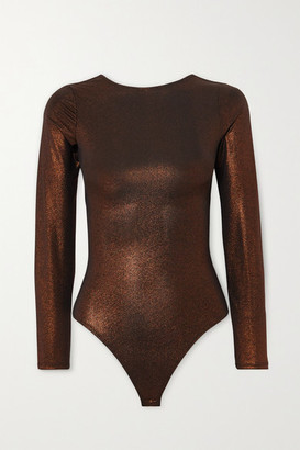 Alix Hanover Open-back Stretch-lame Thong Bodysuit - Bronze