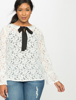 ELOQUII Plus Size Studio Lace Bow Blouse